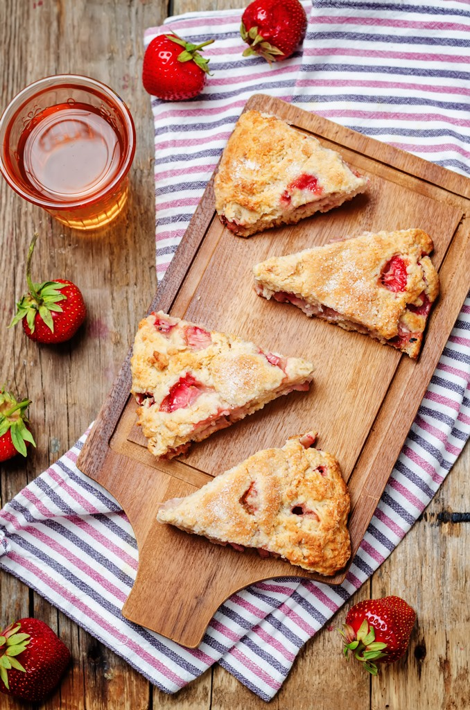Strawberry Scones With Lemon Icing